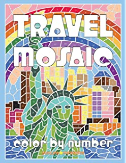 TRAVEL MOSAIC Color By Number Activity Puzzle Coloring Book For Adults Relaxation Stress Relief