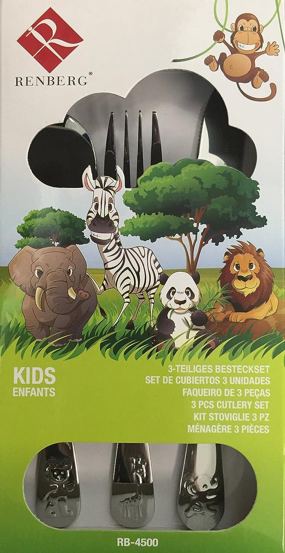 Renberg Set De Cubiertos para Niños En Acero Inoxidable, Gris, 2.5 cm: Amazon.es: Hogar
