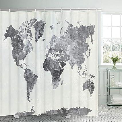 Amazon Com Smurfs Yingda Bathroom Shower Curtain World Map Shower