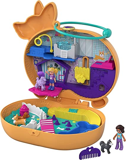 2 Animal Figures Fun Features /& Surprise Reveals Farm Theme Great Gift for Ages 4 Years Old /& Up Micro Polly Doll /& Friend Doll 1 Alpaca with Hair Polly Pocket On The Farm Piggy Compact