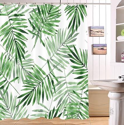 LB Rainforest Shower CurtainTropical Plam Leaves 3D Digital Printing Polyester Fabric Mildew Resistant Waterproof