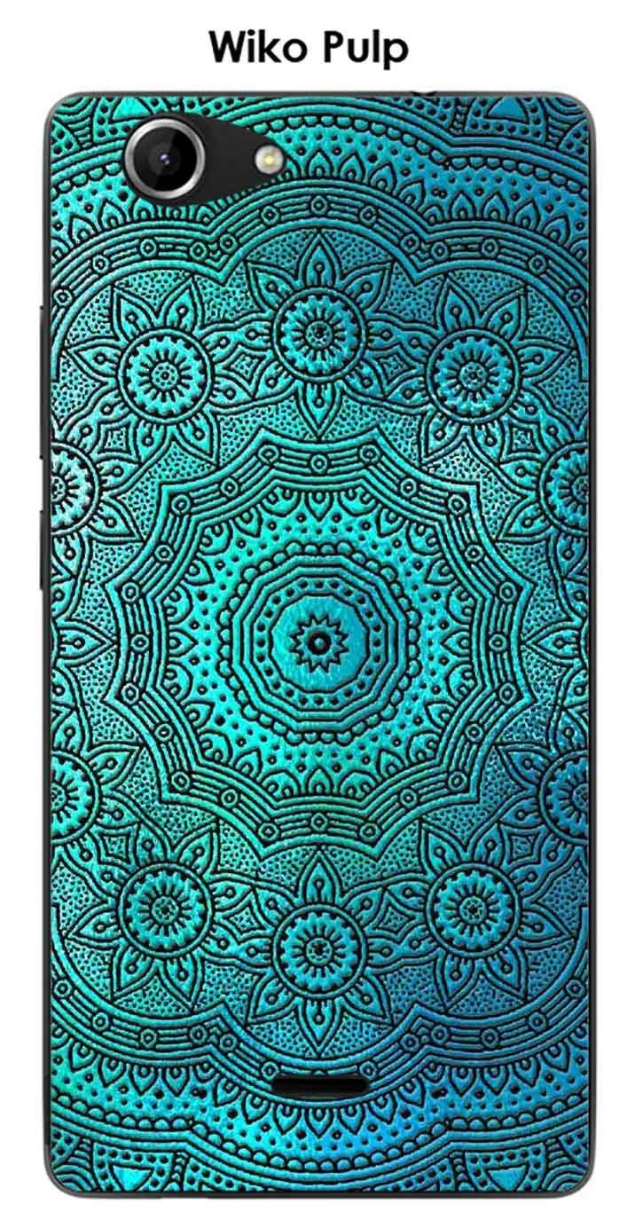 Onozo Carcasa Wiko Pulp Design Mandala roseta azul & negro ...