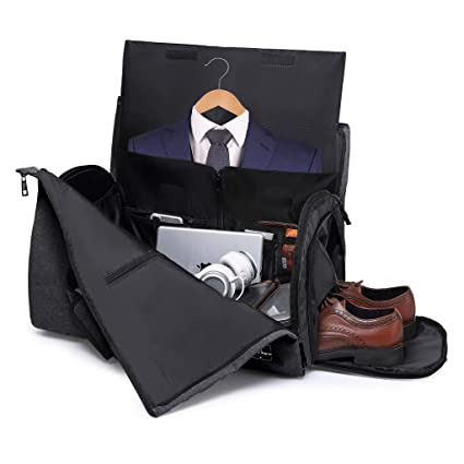 15a4d2836dc3 Travel Garment Bag and Duffel,Convertible Garment Duffel Bag - 2 in 1 Suit  Garment Bag,Light Gray (Black)