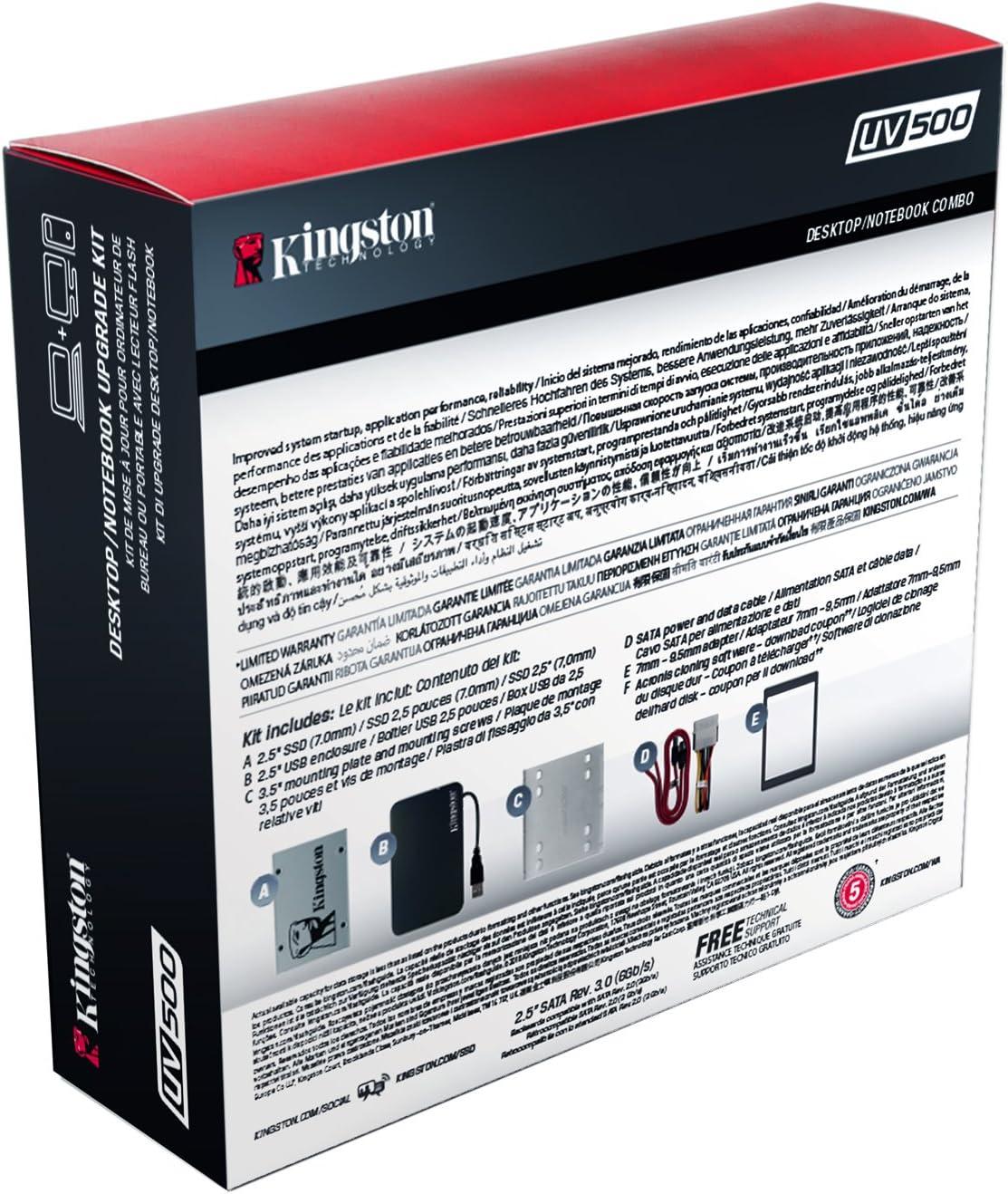 Kingston SUV500B/240G - Unidad de Disco Duro SSD 240 GB, con Kit ...