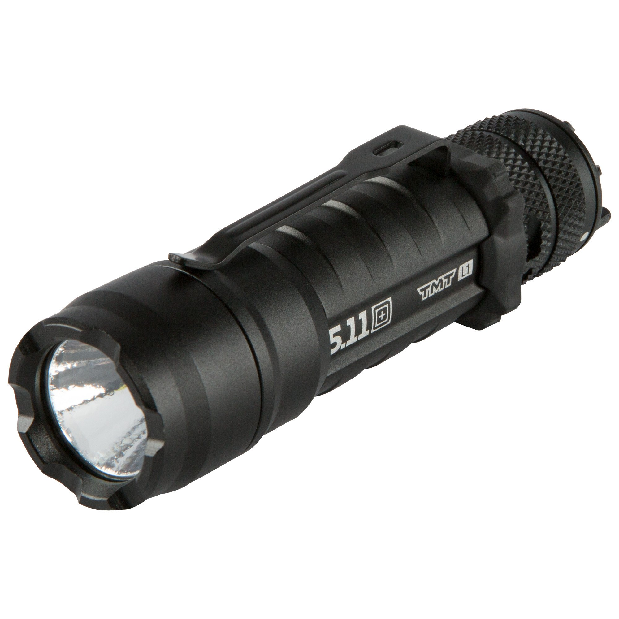 5.11 TMT L1 Tactical Flashlight Military Grade 3.9in Length with 212 Lumens, Modes (steady on, high, strobe, low), Aerospace Aluminum, Gold Plated Contacts for Military, Police, EMS, Adventurer - Style# 53031 - Black
