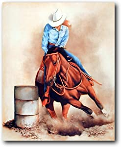 Western Cowgirl Rodeo Barrel Racing Wall Decor Picture Art Print Poster (16x20)