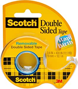 Scotch Brand Double Sided Removable Tape, Photo-Safe, Engineered for Hanging, 3/4 x 400 Inches, 1 Dispensered Roll (667), Clear