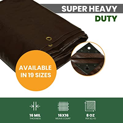 "Super Heavy Duty Tarp, UV Resistant, Rot/Rip/Tear Proof, 16 Mil Brown Poly Tarp Cover Tarpaulin w/Rustproof Grommets & Reinforced Edges (Cut Size: 8' x 10', Finished Size: 7'6"" x 9'6"")"