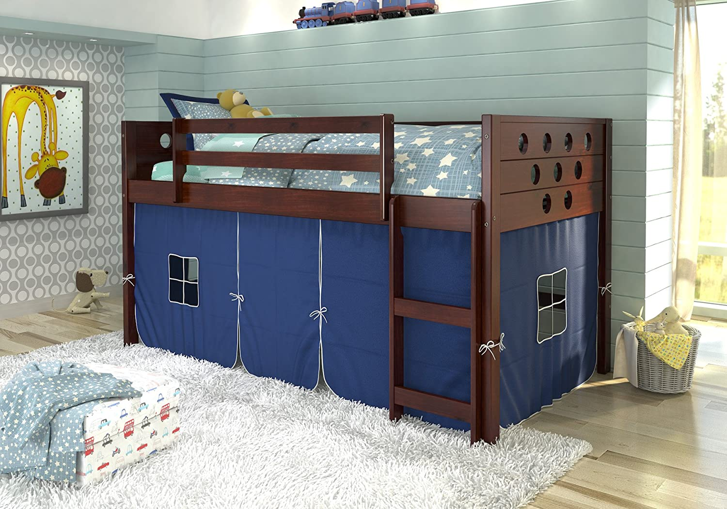 DONCO KIDS 780ATCP_750C-TB Circles Low Loft Bed with Red Tent, Twin, Dark Cappuccino