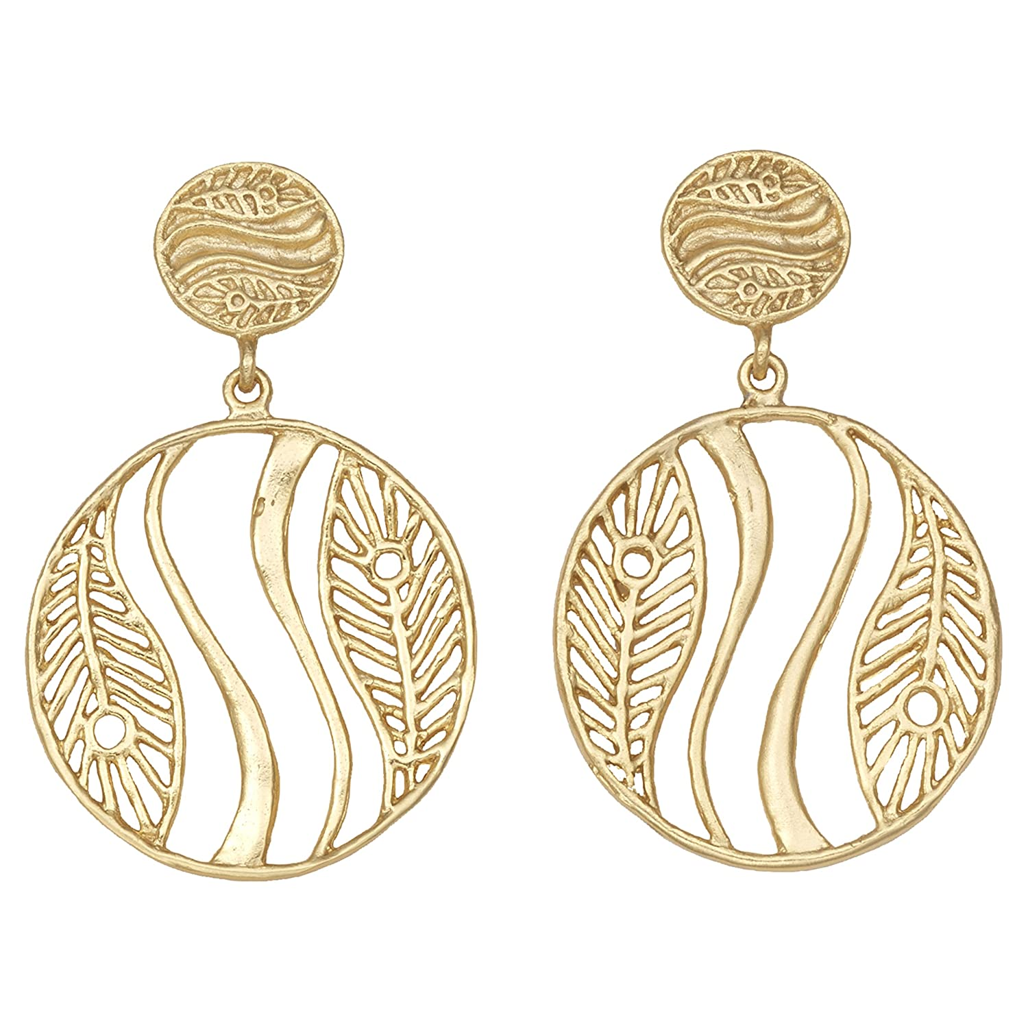 Circles Leaves /& Waves Post Earrings 24k Gold-Plated by Mercedes Shaffer