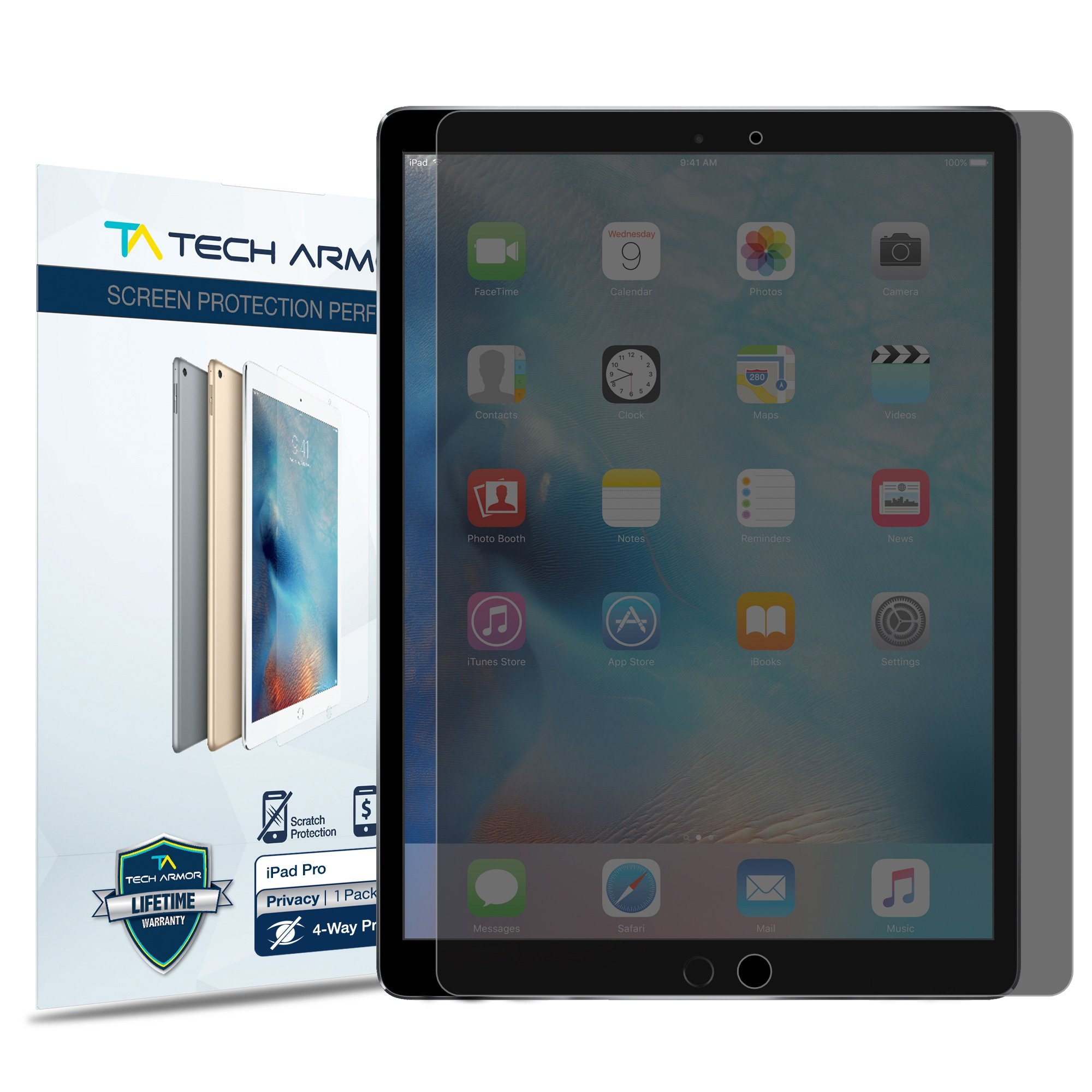 Tech Armor iPad Pro (12.9'') Privacy Screen Protector, 4Way 360 Degree Privacy Apple iPad Pro 12.9-inch Film Screen Protector [1-Pack]