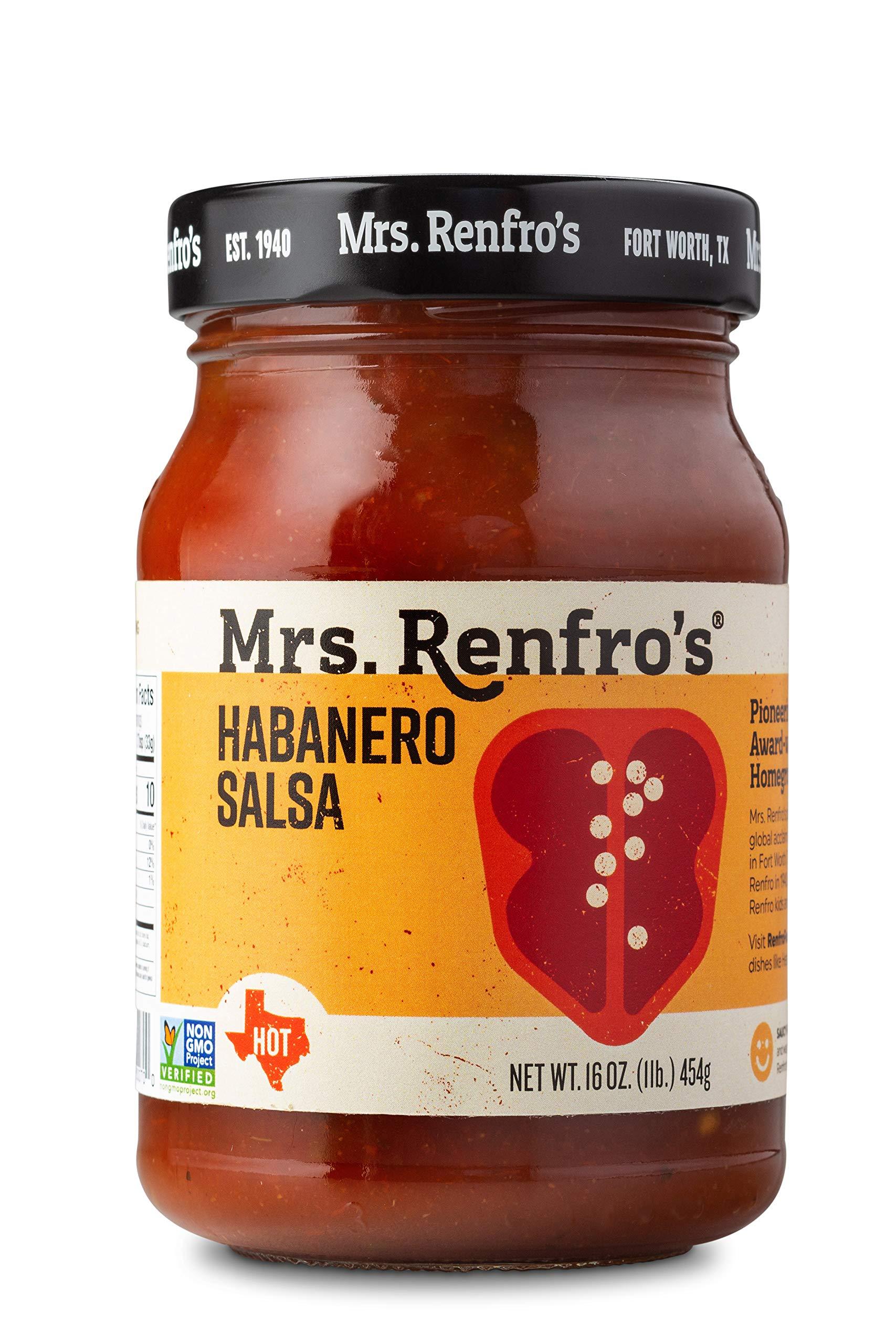 Mrs. Renfro's Habanero Salsa, Gluten Free, No Sugar Added, 16 oz Jar, Pack of 4 by Mrs. Renfro's