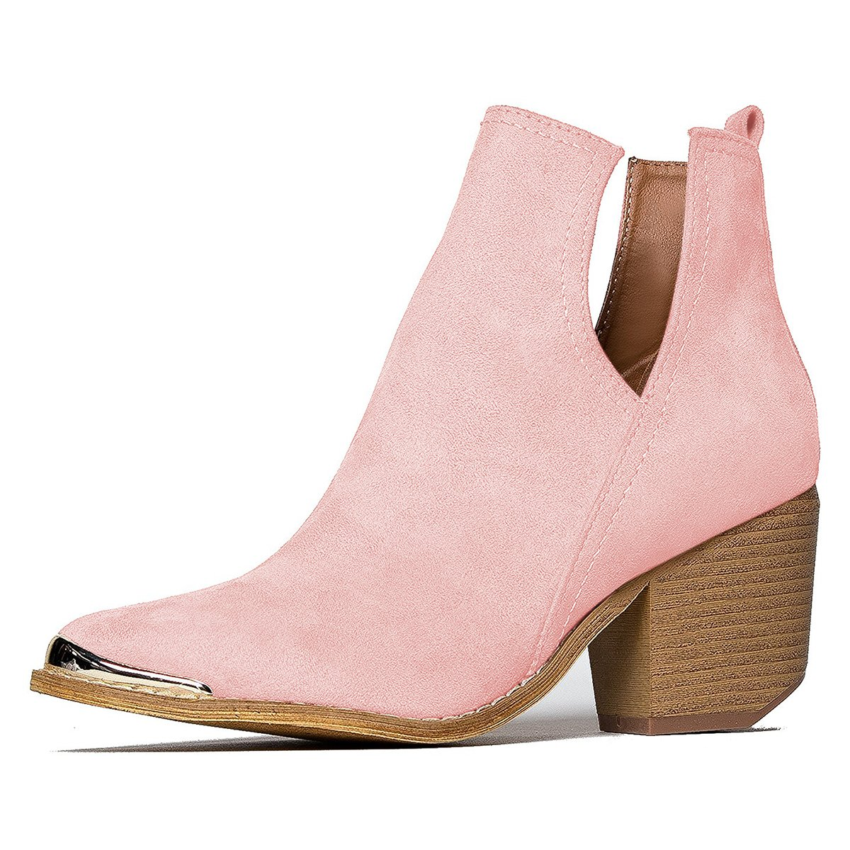 YDN Women Ankle Booties Low Heel Faux Suede Stacked Boots Cut Out Shoes with Metal Toe B079B812DS 10 M US|Pink