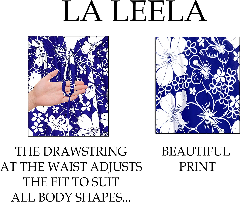 LA LEELA Womens Skull Halloween Costume Beach Swimsuit Cover Ups Drawstring A