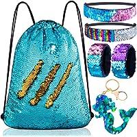 Mermaid Reversible Sequin Drawstring Backpack/Bag Blue/Purple for Kids Girls