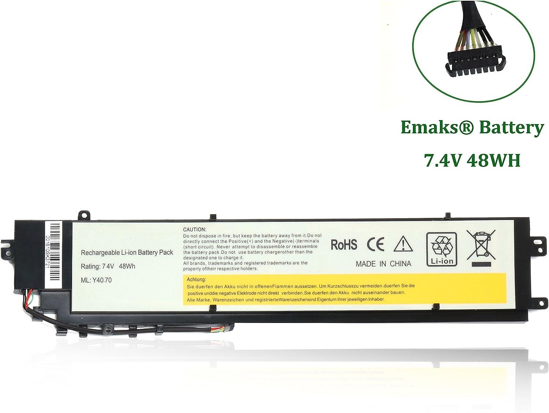 Emaks L13C4P01 Battery L13L4P01 for Lenovo Erazer Y40-80 Y40-80-IFI Y40-80AT-ISE;Y40-70 Y40-70AM Y40-70AS Y40-70AT L13M4P01-7.4V 6600mAh/48Wh