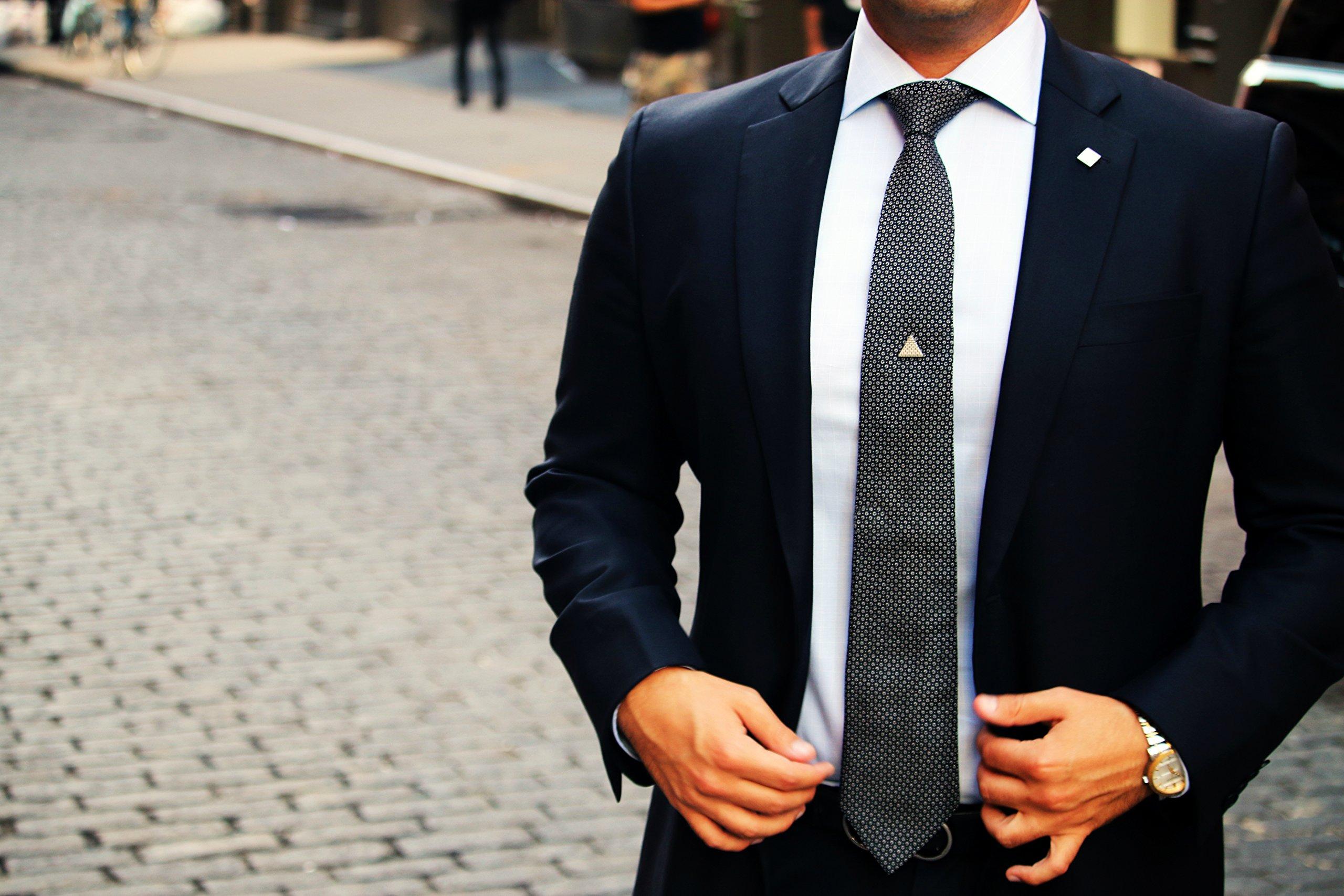 Tie Mags Conversation Starter, Silver, Magnetic Tie Clip.
