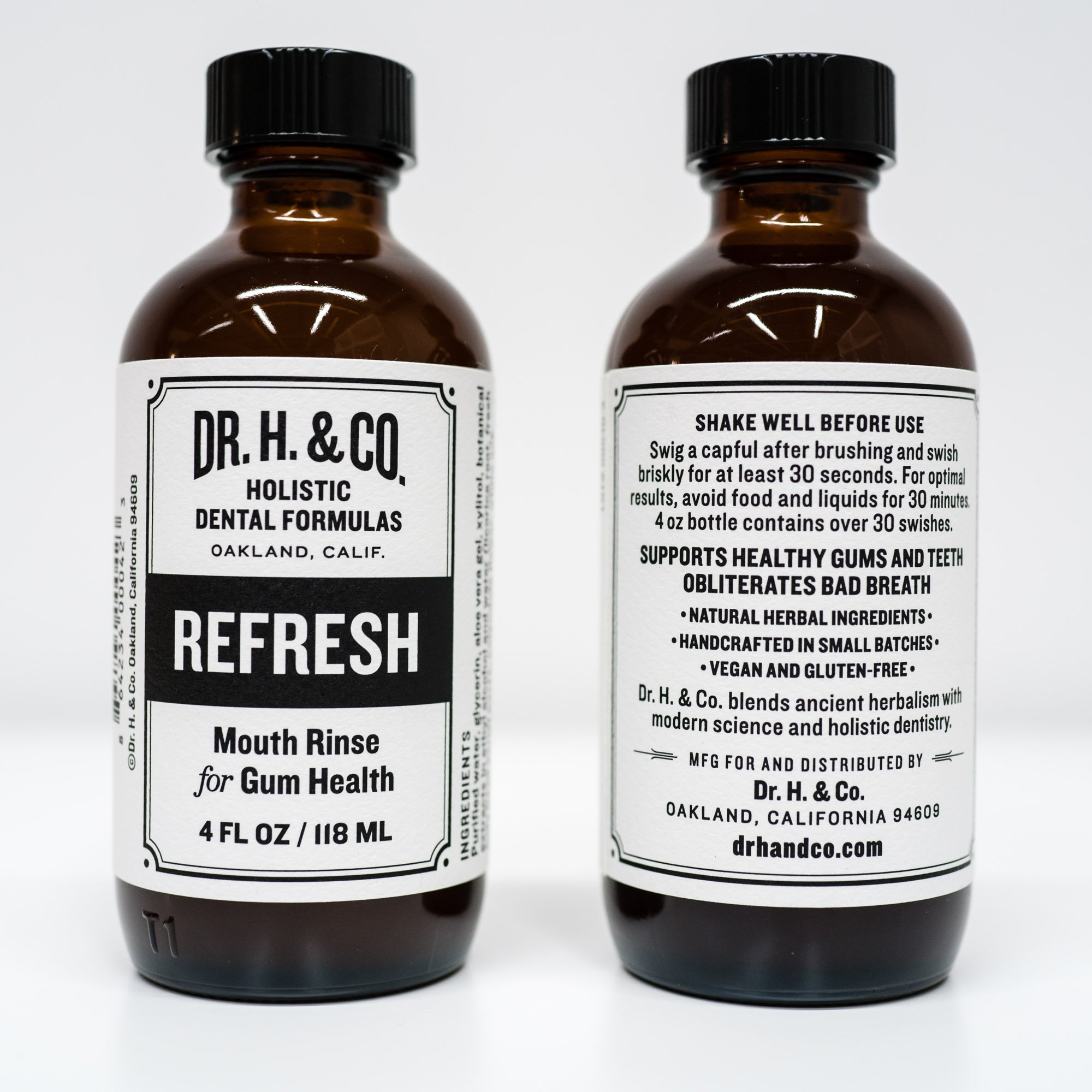 Dr. H. & Co. Dentist Formulated Refresh Mouthwash Ð All Natural Herbal and Holistic Mouth Rinse for Healthy Gums and Teeth (4 oz Glass Bottle) by Dr. H. & Co. (Image #3)