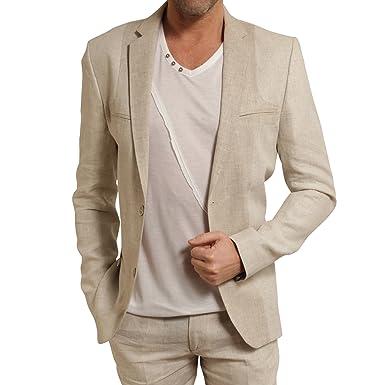 Carnet de vol Veste costume lin beige 60  Amazon.fr  Vêtements et ... 08b86452a75