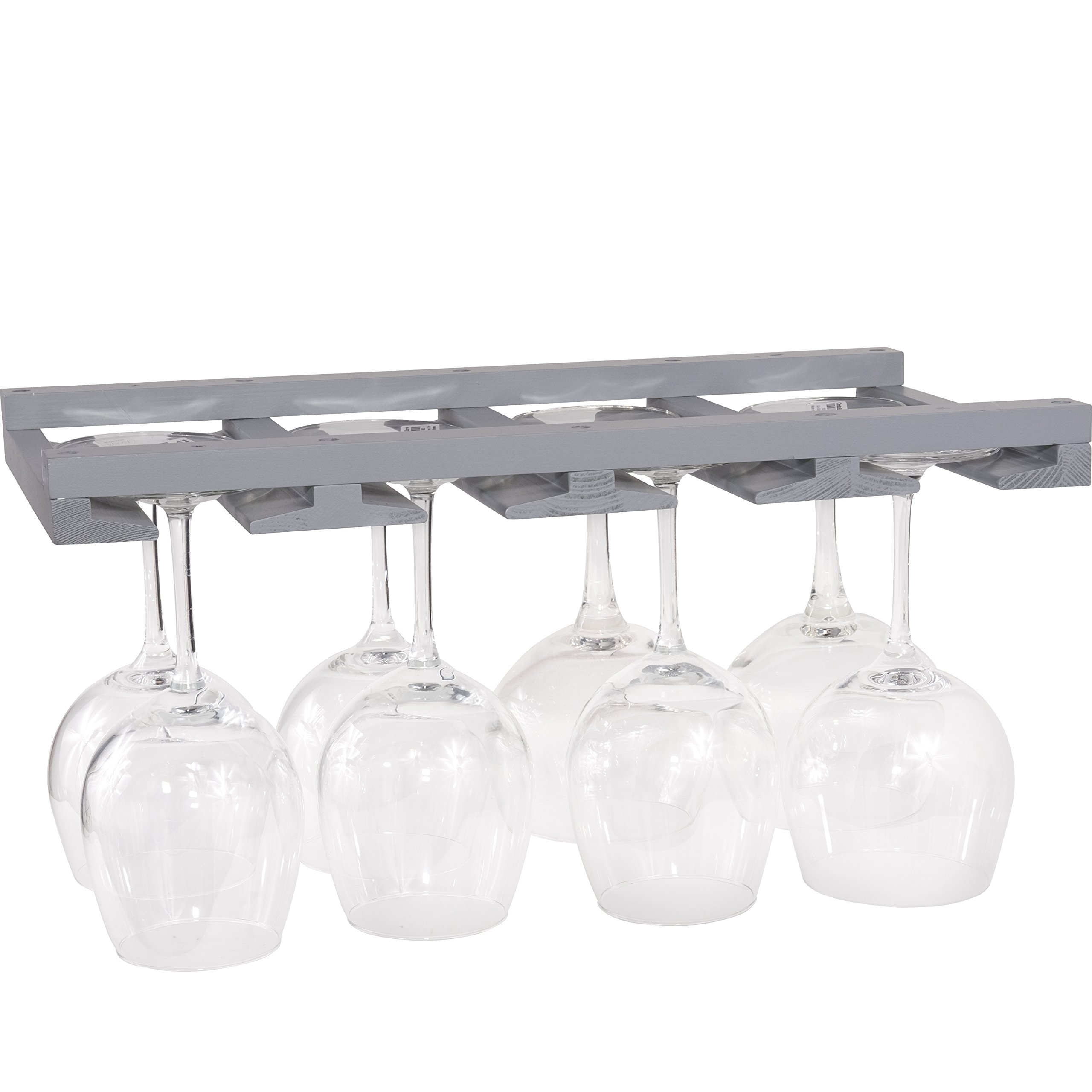 Rustic State Wine Glass Rack Makes Dull Kitchens or Bar Looks Great Perfectly Fits 6-12 Glasses Under Cabinet Easy to Install with Included Screws Great Hanging Bar Glass Rack (Gray)