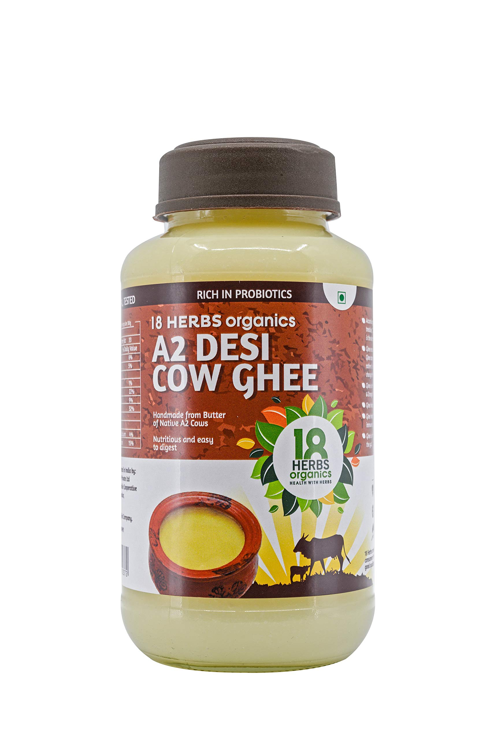 18 Herbs Organics - A2 Desi Cow Ghee - Probiotic Rich - Traditionally Made from Native A2 Cow's Butter - Handmade - 500 ml (B07XWKKJVK) Amazon Price History, Amazon Price Tracker