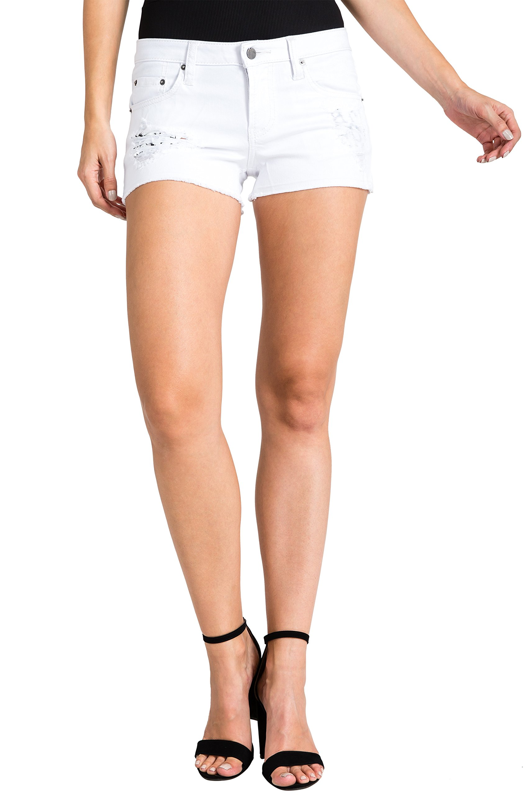 Standards & Practices Women's White Raw Edge Destroyed Stretch Denim Short Size 27 x 2.5Length
