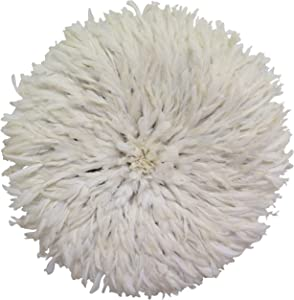"Old World Shoppe Large White Juju Hat - Wall Decor Feather Headdress - 31"" Diameter"