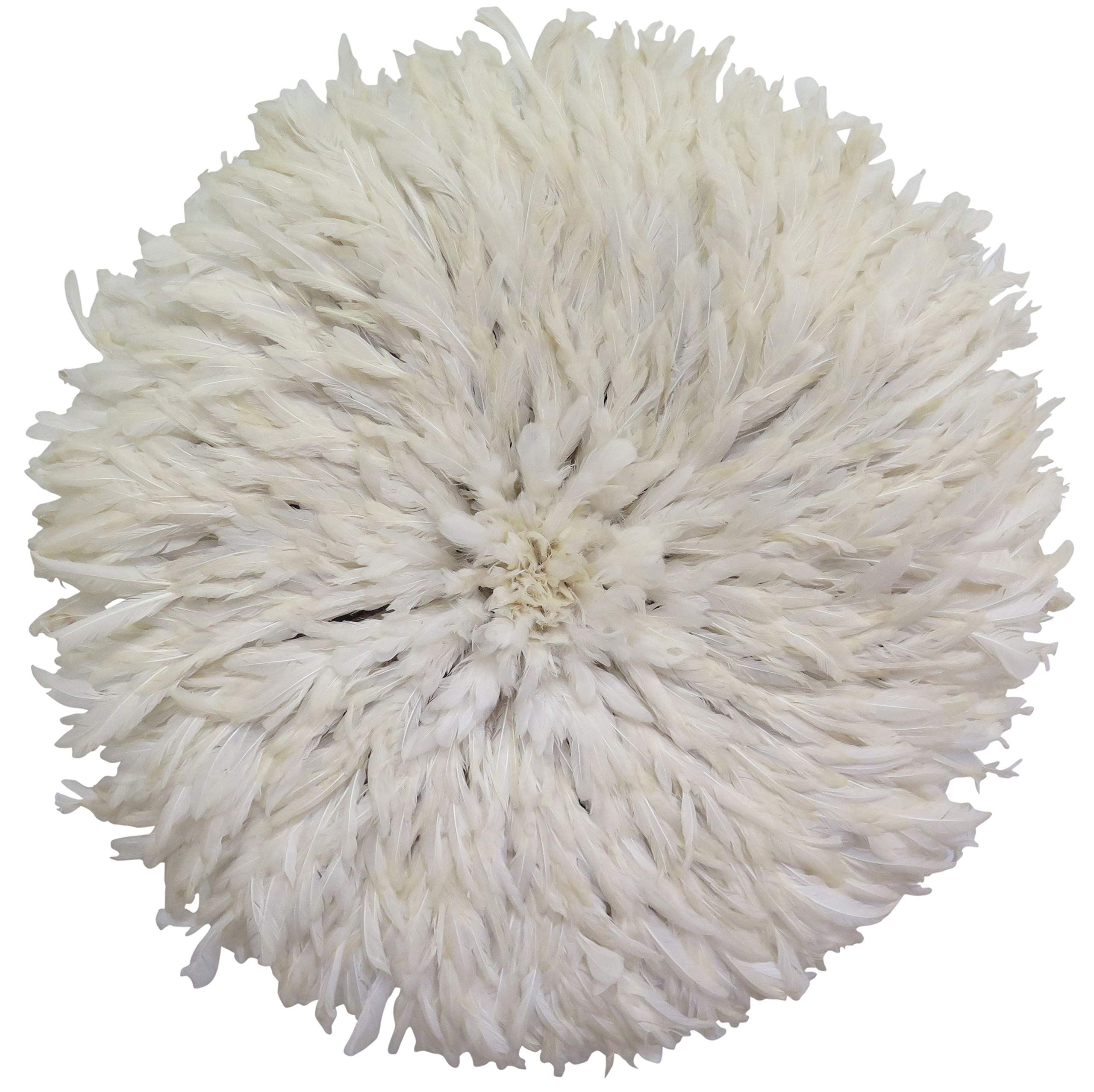 Old World Shoppe Large White Juju Hat - Wall Decor Feather Headdress - 31'' Diameter by Old World Shoppe