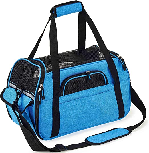 Oferta amazon: Petcomer Transportín para Perros Y Gatos Portador del Mascota Bolsa de Malla Transpirable de Viaje Bolso de Hombro (Azul, L 48x25x33cm)