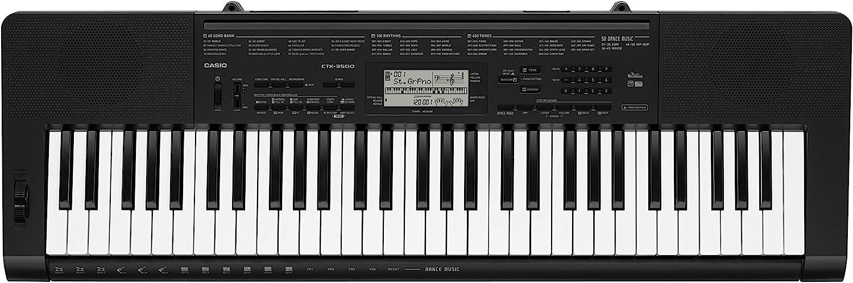 Casio CTK-3500- Teclado digital, 61 teclas sensibles, estilo piano, Negro