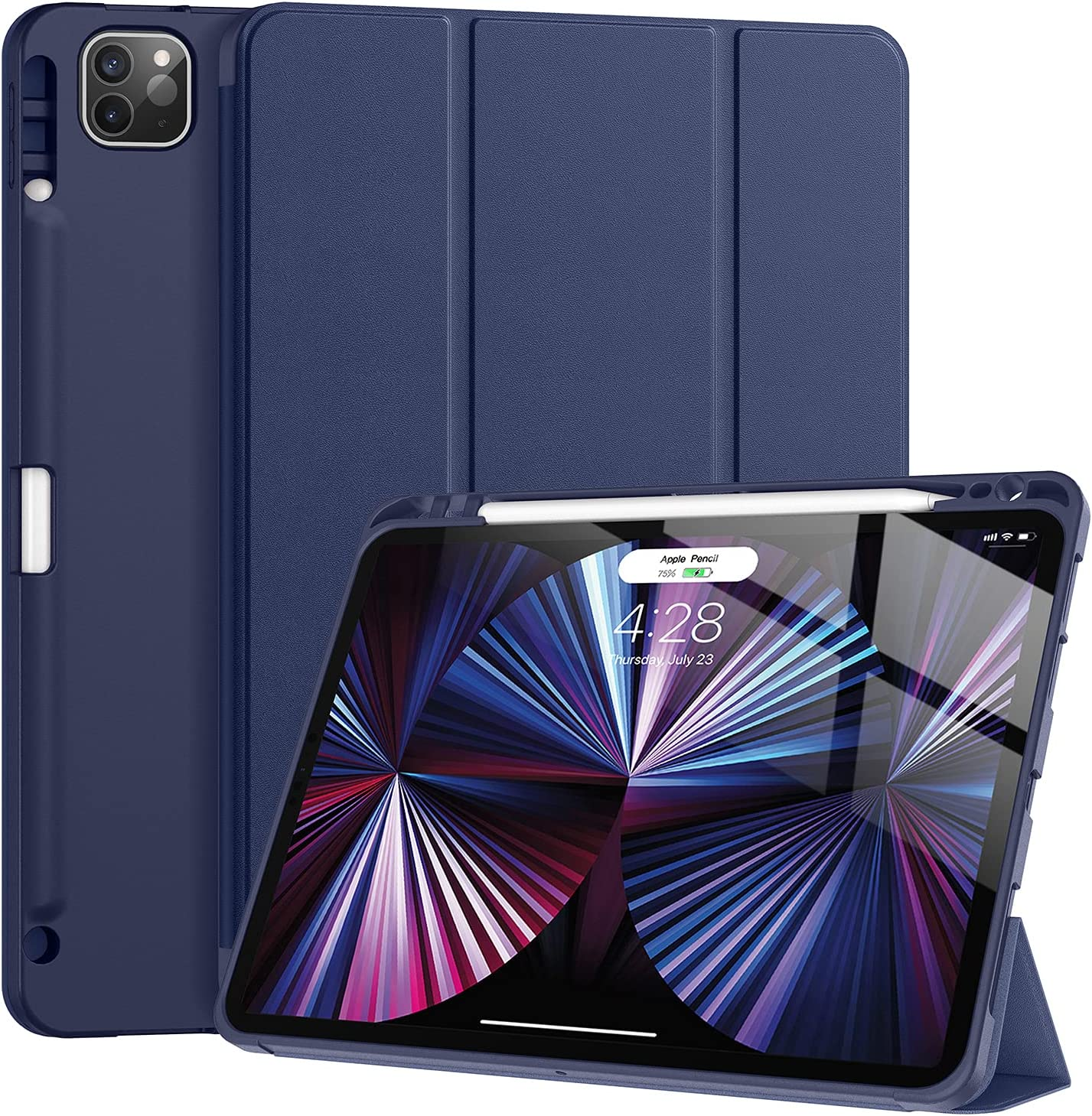 Tuosake iPad Pro 11 inch Case 2021 with Pencil Holder, Slim Lightweight Trifold Stand Case with Soft TPU Back Cover【Auto Sleep /Wake+Pencil Charging】 Smart Case for iPad Pro 11 3rd Gen(Dark Blue)