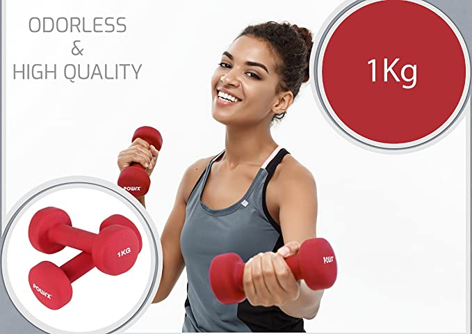 POWRX Mancuernas neopreno 0,5 - 5 kg set - Ideal para ...
