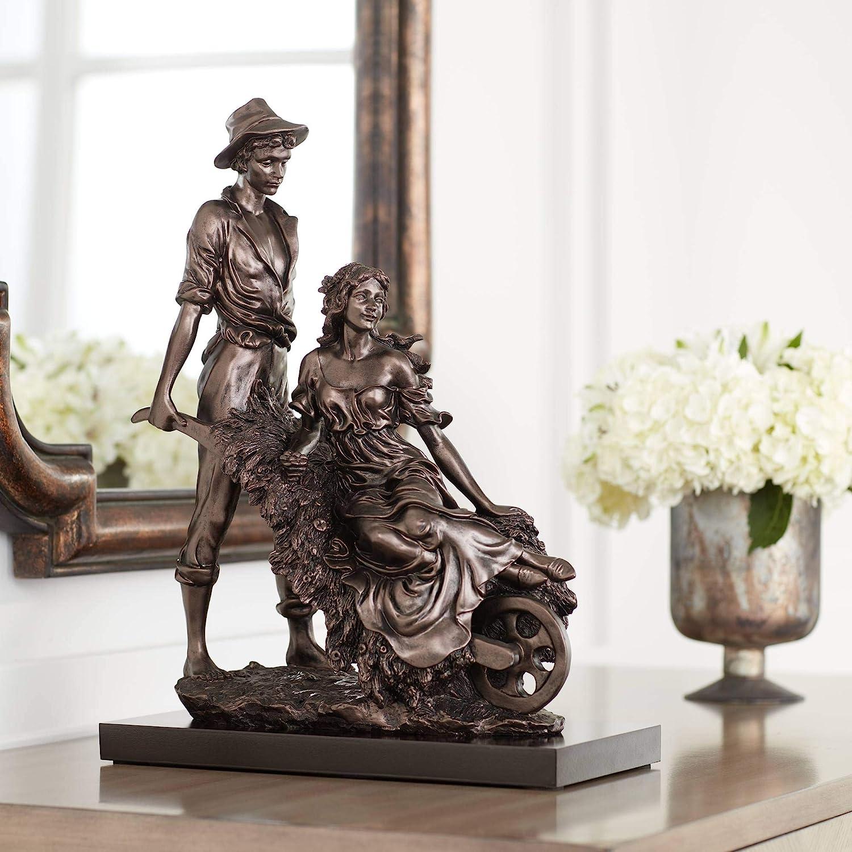 "Dahlia Studios Garden Couple 18 1/2"" High Dark Bronze Sculpture"