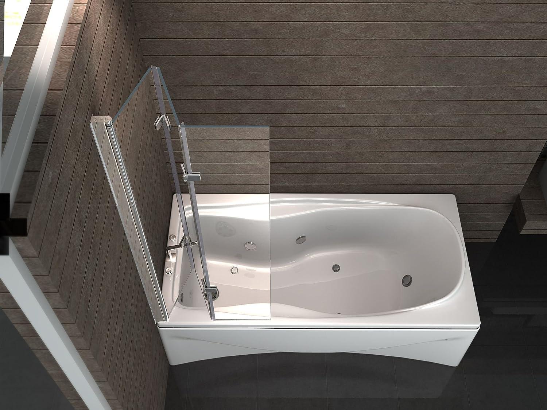 Duschabtrennung glas badewanne  VALVE 130 x 140 cm 3tlg. Faltwand Badewanne Echt Glas 6 mm ...