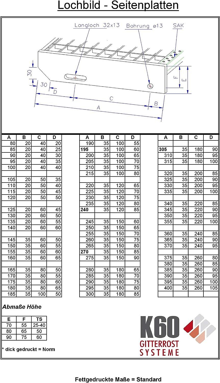 K60 Norm Gitterrost Stufe//MW 31x31 mm//verzinkt 500 x 200 mm