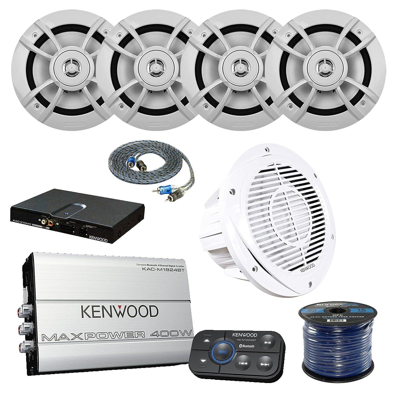 Kenwood kac-m1824bt Marino Bluetooth 4 ch amplificador altavoces marinos, Kenwood, Kenwood p-wd250mrw Marino graves y Amp paquete, Cable RCA macho a macho, ...