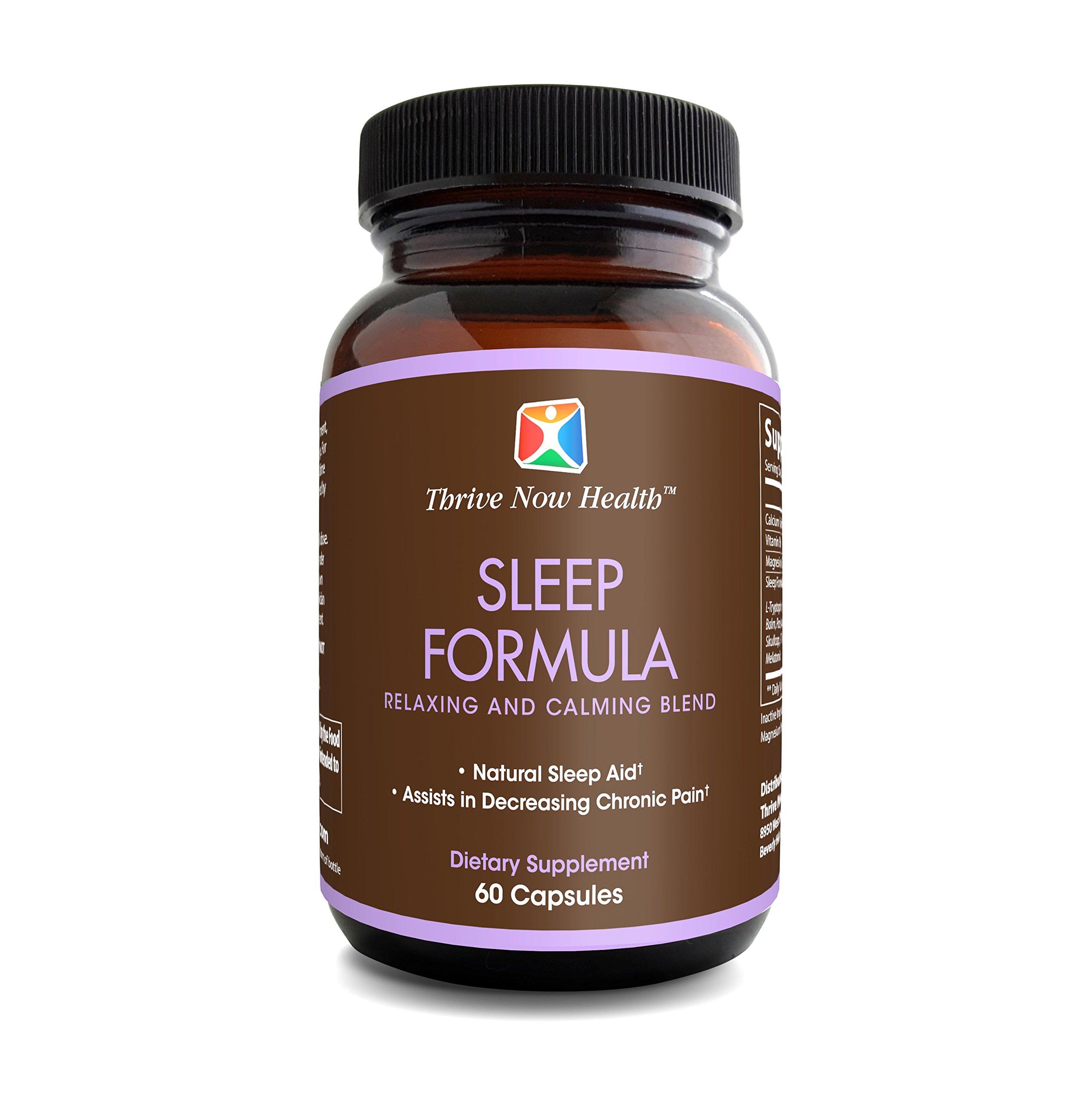Thrive Now Health Sleep Formula w/ Melatonin (60 Capsules) Natural Sleeping Aid | Vitamin B, L-Theanine, St. John's Wart | Deep, Restful Support | Men and Women