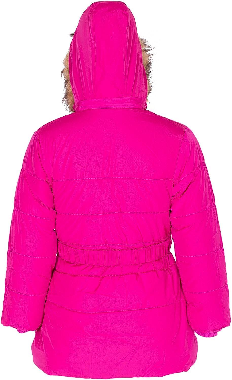 NOROZE Girls Floral Jacket Embroidered Quilted Padded Belt Kids Coat