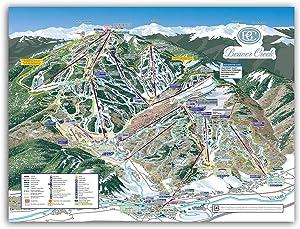 """Beaver Creek Ski Resort Trail Map Poster Framed or Unframed (24""""x18"""" Unframed)"""