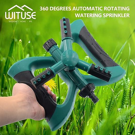 Aspersor de riego para jardín, giratorio automático y flexible, 3 brazos, color verde: Amazon.es: Jardín