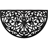 Rubber Scroll Doormat Half Moon Mat, Indoor Outdoor Entrance Mat, Low Clearance, Functional and Easy to Clean, Wrought Iron S
