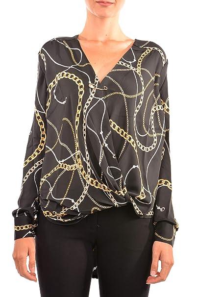 Guess Camicia Blusa Donna Malou Top Nera Catene W84H37-W3TO1  Autunno Inverno L  Amazon.it  Abbigliamento 1644c23bb4f