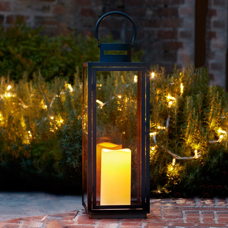 Lights4fun Farolillo Gigante en Metal Cincado Negro para Interiores y Exteriores con Vela LED a Pilas