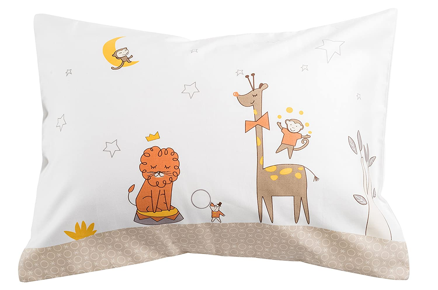 Toddler Travel Pillowcase 100% Softest Cotton Sateen Pillow Case, Covers 13x18 or 14x19, Toddler Baby Travel Pillows Naturally Hypoallergenic-Kids Design- Envelope Style Cases 400 TC (Circus) by The Pillowcase Zappy Products