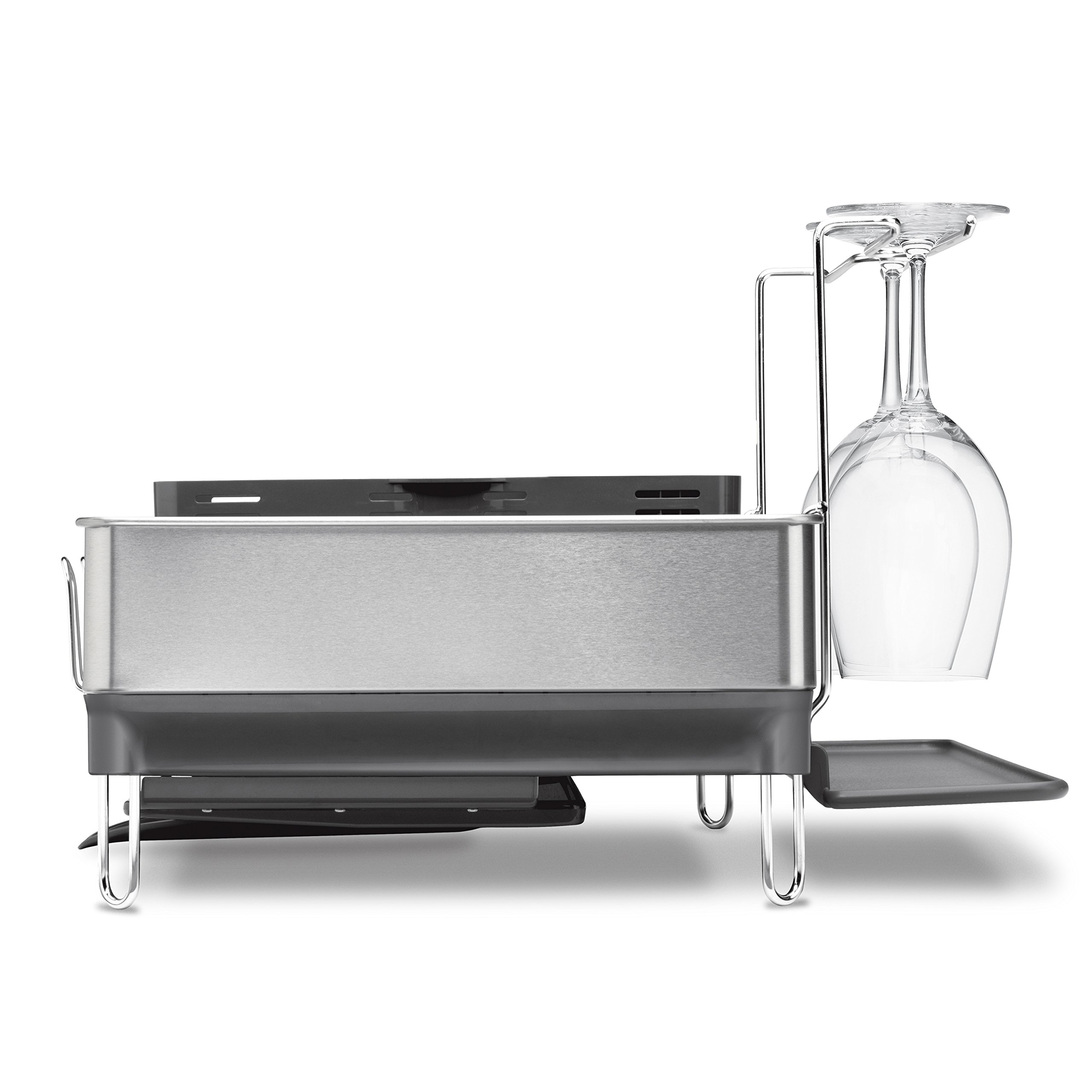 simplehuman Kitchen Steel Frame Dish Rack With Swivel Spout, Fingerprint-Proof Stainless Steel Frame, Grey Plastic by simplehuman (Image #2)