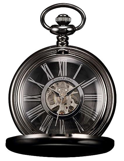KS Reloj De Bolsillo Hombres con Cadena Steampunk Clásico Mecánico Esqueleto Números Romanos con Caja Negro