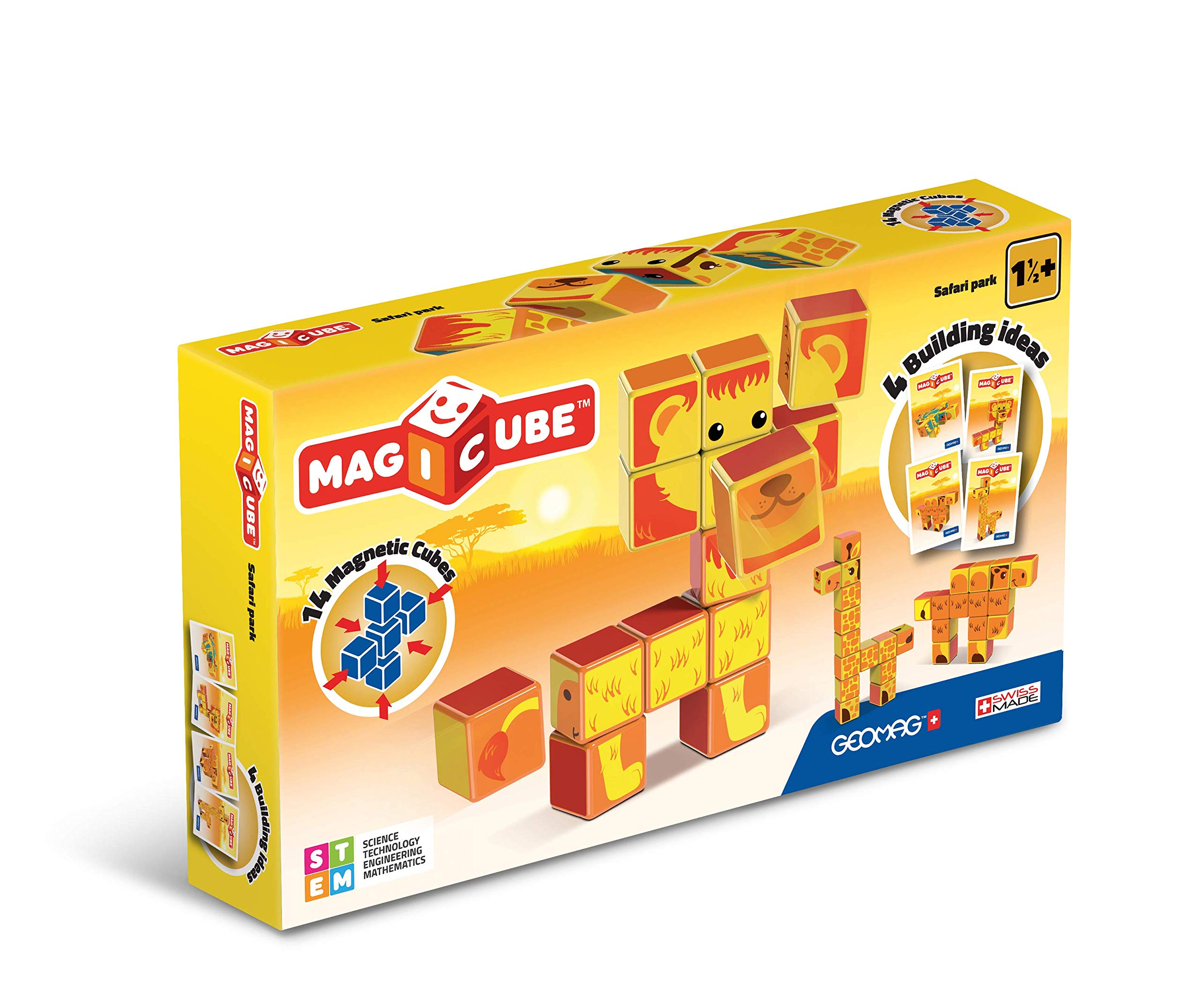 GEOMAG Magicube Safari Park, 16 Magnetic Cubes for Creative Play, Kids Age 1+, Educational Construction Toys Set by Geomag