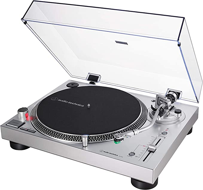 Audio-Technica AT-LP120XUSB Direct-Drive Turntable (Analog & USB), Silver, Hi-Fidelity, Plays 33 -1/3, 45, and 78 RPM Records, Convert Vinyl to ...