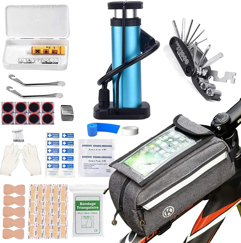 TOUROAM Bicycle Emergency Multi Tool Kit, Bike Tube Frame Bag, Phone Holder, Foot Pump, Repair Kit, First Aid Kit for Cyclist Rider Adventure Travel