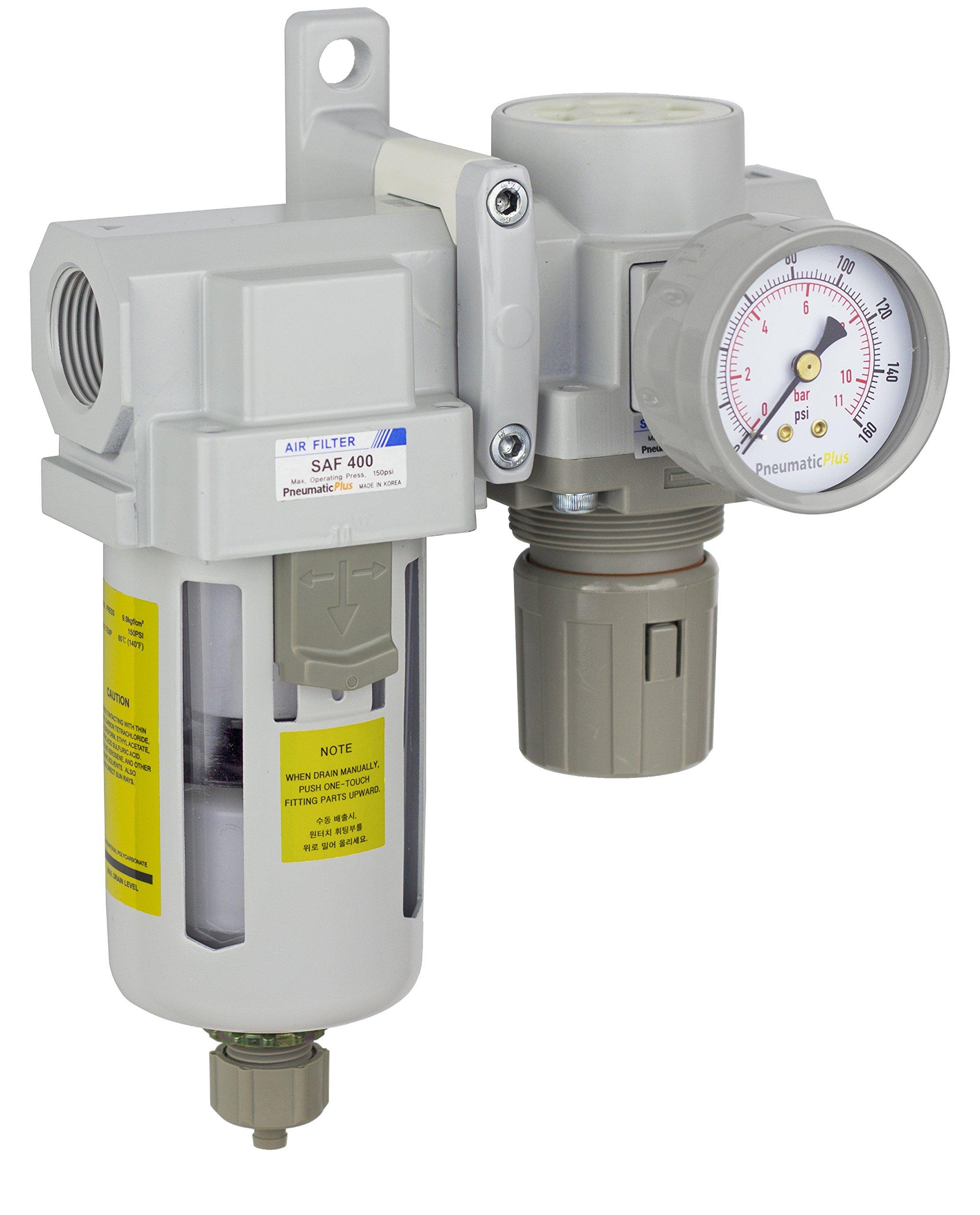 PneumaticPlus SAU420-N06G Compressed Air Filter Regulator Combo 3/4'' NPT - Poly Bowl, Manual Drain, Bracket, Gauge by PneumaticPlus
